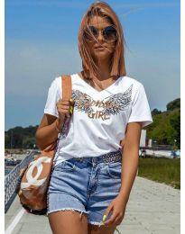 Дамска тениска в бяло с принт - код 4261
