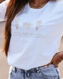 Дамска тениска с принт в бяло - код 4462