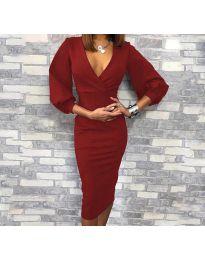 Φόρεμα - κώδ. 8706 - 2 - μπορντό