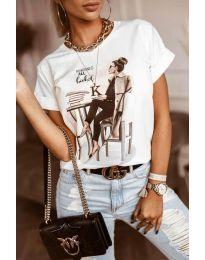 Κοντομάνικο μπλουζάκι - κώδ. 5659 - λευκό
