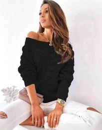 Дамски пуловер с паднало рамо в черно - код 1634