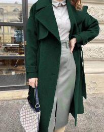 Дамско дълго елегантно палто с копчета и колан в тъмнозелено - код 1635