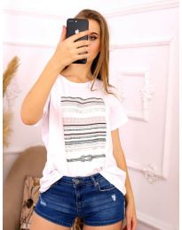 Κοντομάνικο μπλουζάκι - κώδ. 3514 - λευκό
