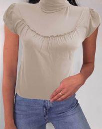 Дамска блуза в бежово с къс ръкав и поло яка - код 0216