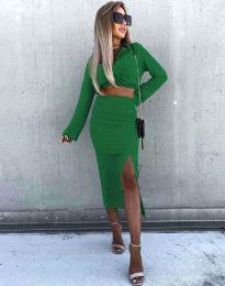 Ефектен дамски комплект къс топ с дълъг ръкав и пола с висока талия в зелено - код 3978