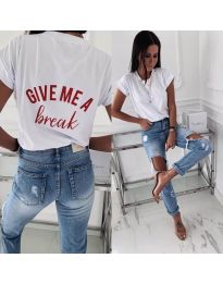 Κοντομάνικο μπλουζάκι - κώδ. 3293 - λευκό