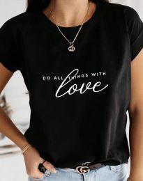 Дамска тениска в черно с принт - код 2931