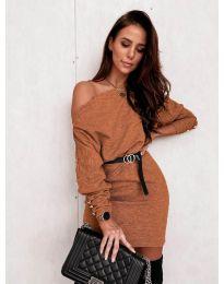Φόρεμα - κώδ. 4442 - καφέ