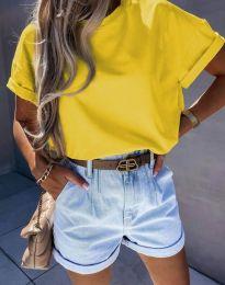 Изчистена дамска тениска в жълто - код 7525