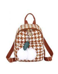 Дамска чанта в кафяво в пипит и пухен орнамент - код B69