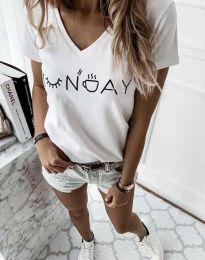 Тениска в бяло с надпис - код 822