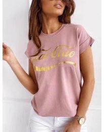 Κοντομάνικο μπλουζάκι - κώδ. 3659 - πούδρα